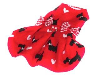 Dog dress, xxs dog dress, pet dress, flannel dog dress, birthday dog dress, chihuahua dress, yorkie clothes, length  7 1/2 in. (19 cm )