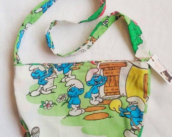 Smurfs original vintage 80s cartoon style upcycled purse