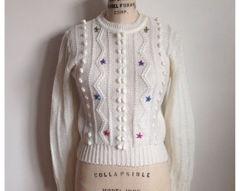 Vintage 1980s white knotted sweater