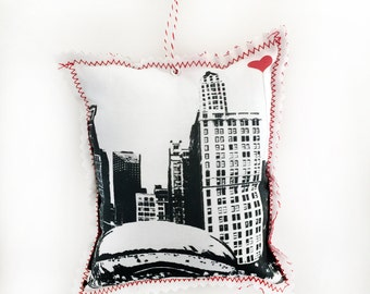 Chicago Bean Fabric Ornament