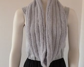 Grey Infinity Scarf, Hand knit Circle Scarf, Wool Lacy Infinity Scarf, Winter Scarf