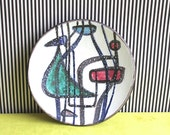 Mid Century Modern Studio Pottery Wall Plate Hand Painted