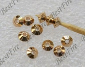 10 pcs 4mm 24K Gold Plated Brass wheel Charm Pendant Spacer,Charms Jewelry Findings,metal brass spacers finding beads