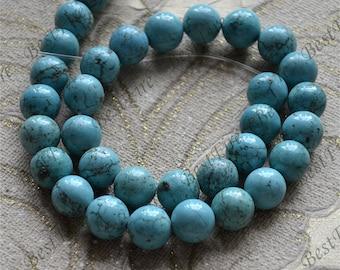 Single 12 mm round turquoise nugget gemstone beads,Turquoise nugget beads jewelry, Gemstone Bead loose strands