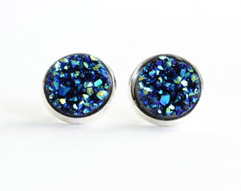 Blue Druzy Stud Earrings, Faux Druzy Earrings, Starry Earrings