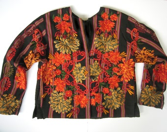 Vintage Embroidered Mexican Cropped Jacket Lined Ornate Embroidery Flower Floral Design Fall Fashion Brilliant Colors Petite Small / Medium