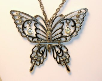 Vintage Butterfly Pendant Rafaella Signed Hinged Rhinestone