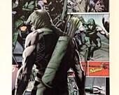 Green Arrow Comic Collage Canvas Art, Comic Wall Decor--8x10 inches