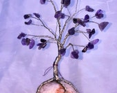 Wire Wrapped Amethyst Tree Sculpture with Quartz Base