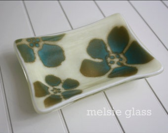 Tropical Hibiscus cream glass soap dish with turquoise and tan floral accents