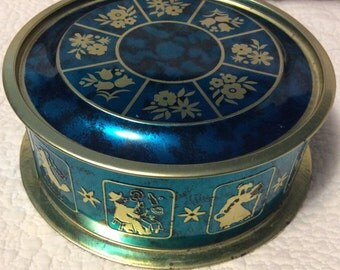 Vintage 1960s Teal Fairytale Tin Container with Flowers made in Brazil