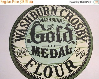 20% SALE Large GOLD MEDAL Flour Tin Container Washburn Crosby Co White Americana Advertising