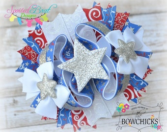 Home of the Brave OTT Hairbow, Perfect for July 4th, Stacked Bow, Patriotic,  Ready to ship