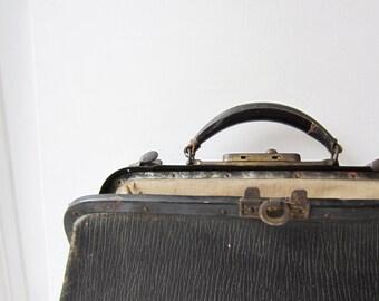 Vintage Black Doctor Bag - Antique Apothecary Bag