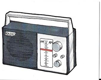 Vintage 1980's Children's Illustration - Radio
