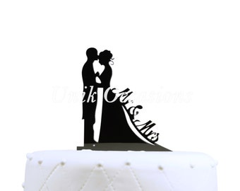Mr & Mrs Bride and Groom Silhouette Wedding Cake Topper Pick