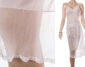 Sexy XXXL 'Nylongerie de Luxe by Perrico' really sheer shell pink nylon and dainty lace and pleat detail 50's vintage full slip - PL1346