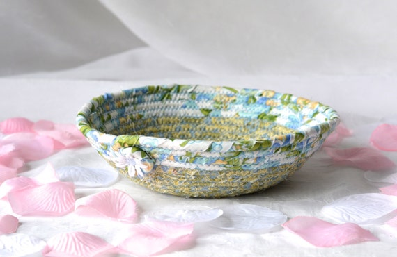 Shabby Chic Bowl, Key Holder Tray, Lovely Blue Bowl, Desk Business Card Holder, Decorative Basket, Soft Fiber Pottery, Fabric Pottery