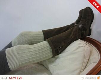 Thigh Highs Boots Socks Striped Leg Warmers Oatmeal Tan Stripe Knit A1321