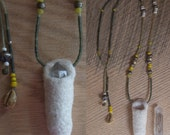 Treasure Pouch - Quartz Crystal, Afghani Jade and Antique Beads Talisman