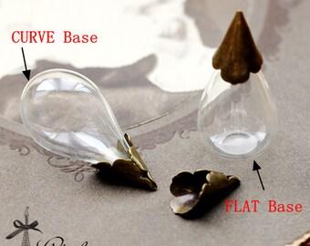5PCS Clear Teardrop Glass Bulb Glass Teardrop Bottle with matt gold /matt silver /Antique Bronzed/ Flower Cover