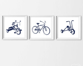 Tricycle Art Prints, Nursery Boy Tricycle Bike Wall Art, Set of 3 Bike Decor, Transportation Navy , Bike Kids Prints, Boy Wall Art Custom