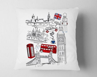 London Pillow Doodle Art, British Union Jack UK Pillow, England Nursery Pillow, Bus Big Ben Pillow London Decor, British Baby Room Decor