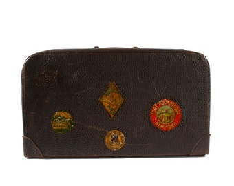Leather Suitcase with Travel Stickers - Vintage Luggage
