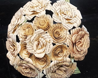 spiral and realistic style recycled book page paper roses alternative bridal bridesmaid toss centerpiece wedding bouquet