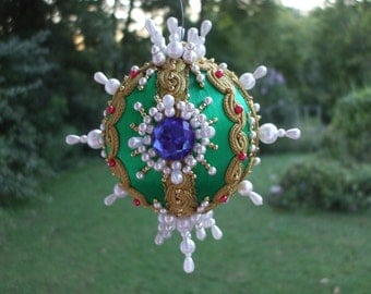 "Green Handmade Christmas Ornament Vintage 3"" Ball Pearls Blue Gems Gold Red Pink Beads Jewels Faceted Gold Trim Satin OOAK Victorian"