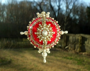 Handmade Christmas Ornament Pearls Gold Beads Silver Gold Trim Red Satin Ball OOAK Ornate Victorian