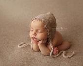 Vintage Bonnet, Boy Bonnet, Newborn Photo Prop, Newborn Bonnet, Taupe Bonnet, Knit Fabric Bonnet, Baby Boy Bonnet, Newborn Hat, Baby Hat