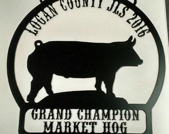market hog. Pig  Personalized livestock show award, trophy, plaque.  Grand, Reserve grand champion.  4h, ffa, showman.