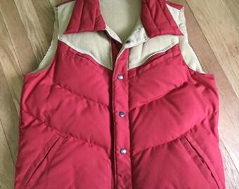SALE Vintage 1960s 1970s Quilted Burnt Orange Rockabilly Western Puffer Vest W Brown Corduroy