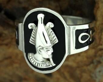 Egyptian Zodiac SIlver Jewelry Dead God Osiris w/ Ankh Ring