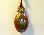 Reserved for Amanda.........Vintage cloisonne pendant, bottle shaped, on red cord, Chinese cloisonne, Oriental import