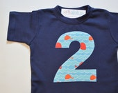 Whale 2nd Birthday Shirt, Nautical Party, Blue and Orange, Short Sleeve Navy Blue Tee, Number 2 Shirt, Ocean Fish Party Water, Ready to Ship