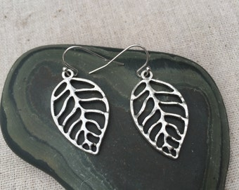Silver Leaf Earrings - Silver Leaf Jewelry - Simple Everyday Earrings