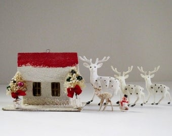 Vintage Miniature Putz House Kit, Miniature Christmas Craft Kit w Reindeer, Vintage Crafts Supply Assemblage Dioramas Dollhouse Minis