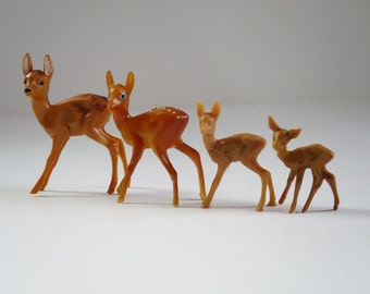 Vintage Miniature Reindeer Deer, Set of 4 Varying Size Plastic Hong Kong Reindeer, Kitsch Diorama Putz House Supplies, Holiday Decor