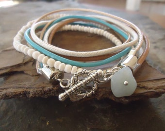Mixtura in CAMEL and TURQUOISE- leather bracelet & coconut (1770)