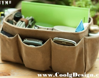 Purse Organizer Insert, Bag Organizer, Extra Sturdy, Faux Suede light brown / Large 25x10cm
