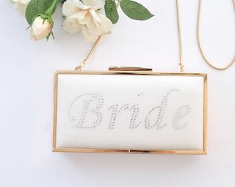 Rhinestone BRIDE - Bridal clutch/ Off white/Box clutch 8.5x4.5 inches