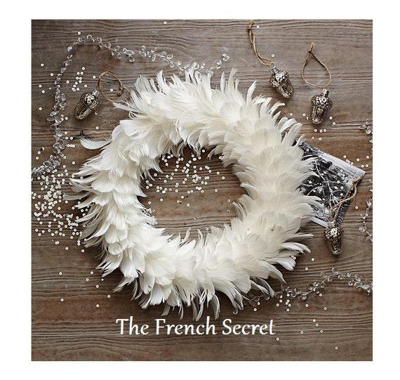 Items similar to white christmas feather wreath shabby