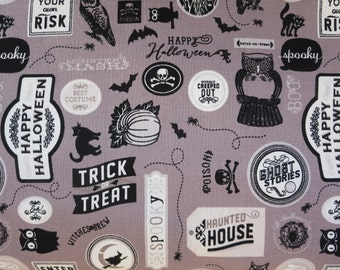Sale Fabric - Deena Rutter for Riley Blake Designs C4672 -Gray - Happy Haunting Sticker
