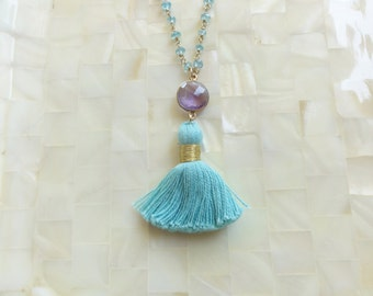 Faceted Amethyst Vermeil Bezel Connector and Aqua Blue Tassel on Blue Quartz Rondelle Vermeil Wire Wrapped Chain Necklace (N1720)