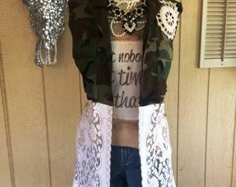 Camo and Lace Vest Women's Sleeveless Vintage Shabby Chic Urban Country  Western Lace Custom Unique Magnolia Farm Fixer Upper Junk Gypsy