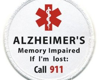 ALZHEIMER'S Memory Impaired Call 911 Alert Sew-on White Rim Patch (Choose Size)