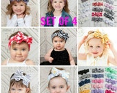 SET of 4 Baby Headbands, Girls Head wraps, Messy Bow Baby Head wraps, Jersey Knit Headwraps, Big Bow Baby Headbands, Knott Headband