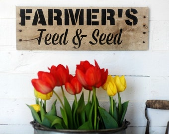 Farmhouse Sign - Farmer's Feed and Seed Rustic handmade wood sign by Knick of Time
